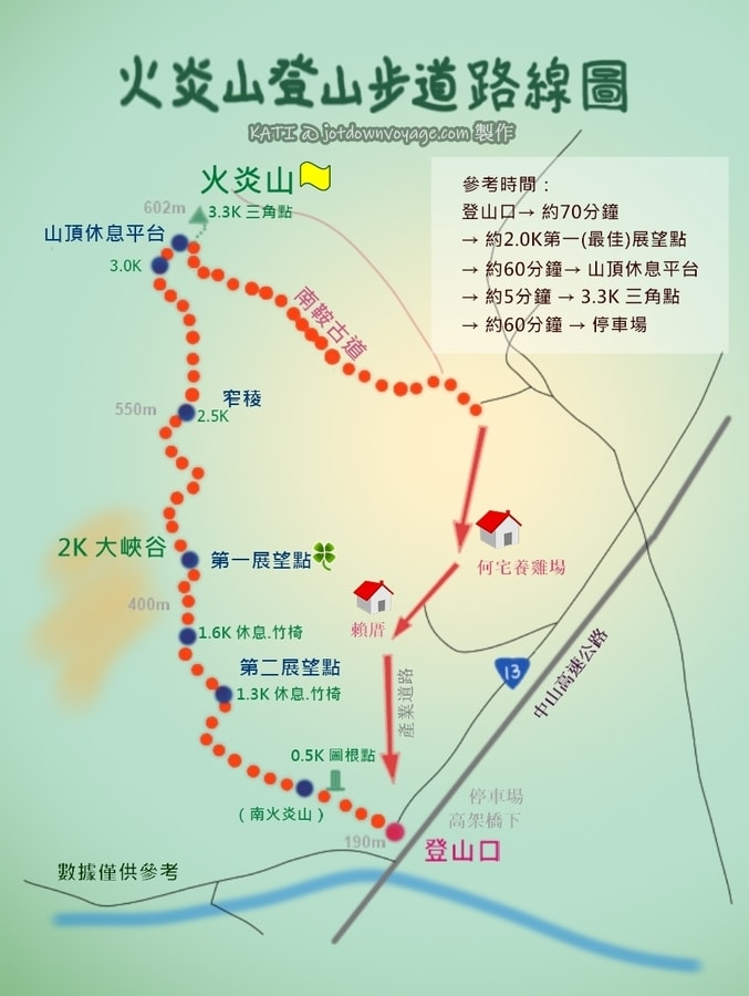 火炎山登山路線地圖 Huoyanshan Hiking Guide Map