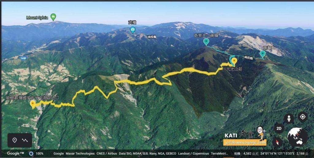 兩日奇萊南華.登山路線地形圖
