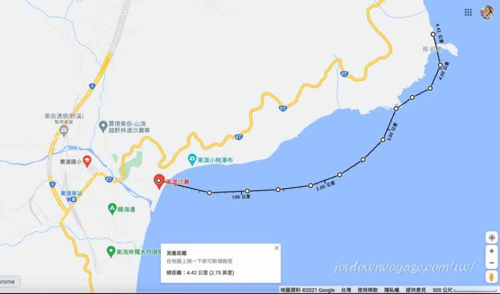 烏岩角划獨木舟:路線和距離示意圖