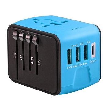 旅行萬用轉接頭3孔USB+1typcC 推薦 Universal adapter