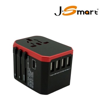 旅行萬用轉接頭4孔USB + 1 type C 推薦 Universal adapter