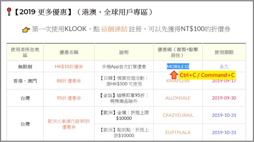 2019 客路 KLOOK 優惠碼(折扣碼)領取教學、Promo Code List列表、KLOOK評價|台灣、香港、全球用戶