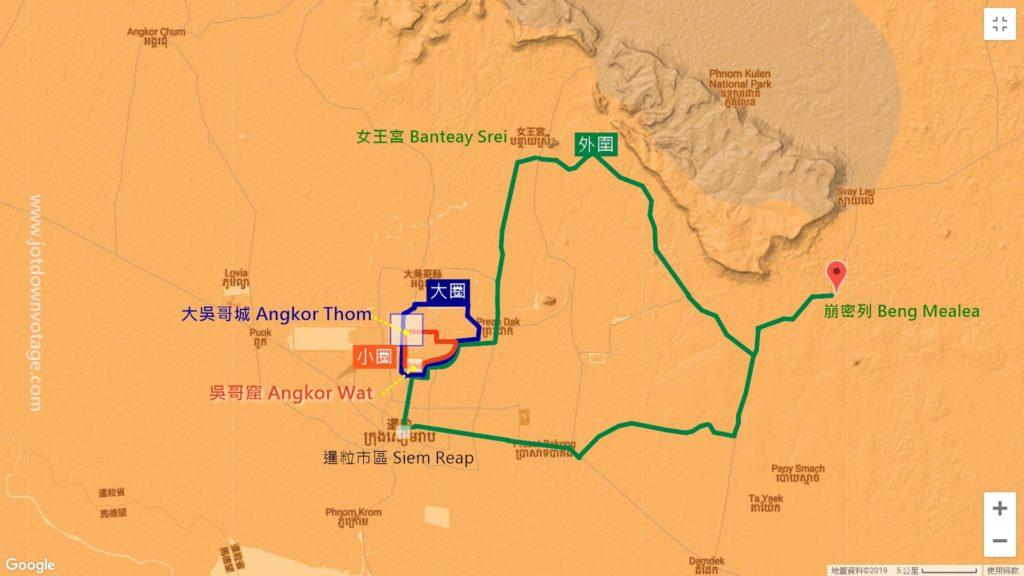 吳哥窟參觀路線-大圈、小圈、外圍 地圖